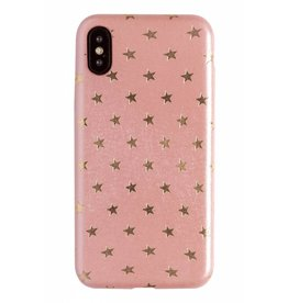 Lunso Lunso - ultra dunne backcover hoes - iPhone X / XS - star lichtroze