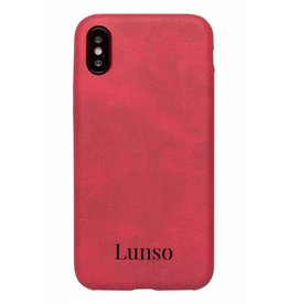 Lunso Lunso - ultra dunne backcover hoes - iPhone X - lederlook rood