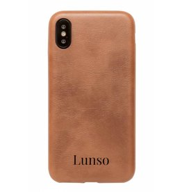 Lunso Lunso - ultra dunne backcover hoes - iPhone X / XS - lederlook cognac
