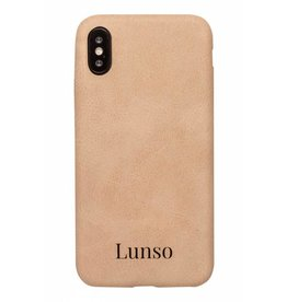 Lunso Lunso - ultra dunne backcover hoes - iPhone X - lederlook beige