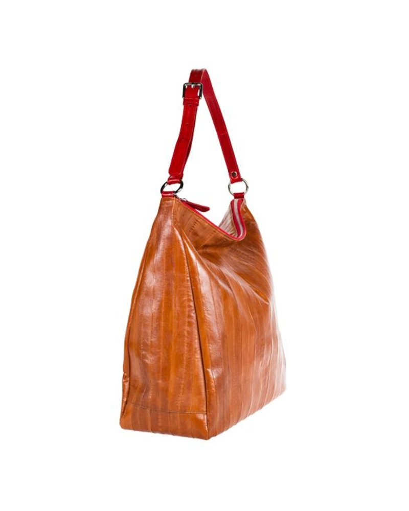 84d135d33cff Handbag in caramel red made from exclusive eelskin - JUNGMI