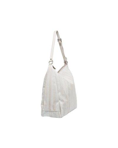 Cleopatra Handtasche weiss mit silbernem Reissverschluss