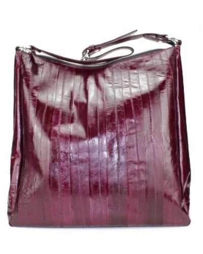 56b46e0f4dac Handbag in bordeaux made from exclusive eelskin - JUNGMI