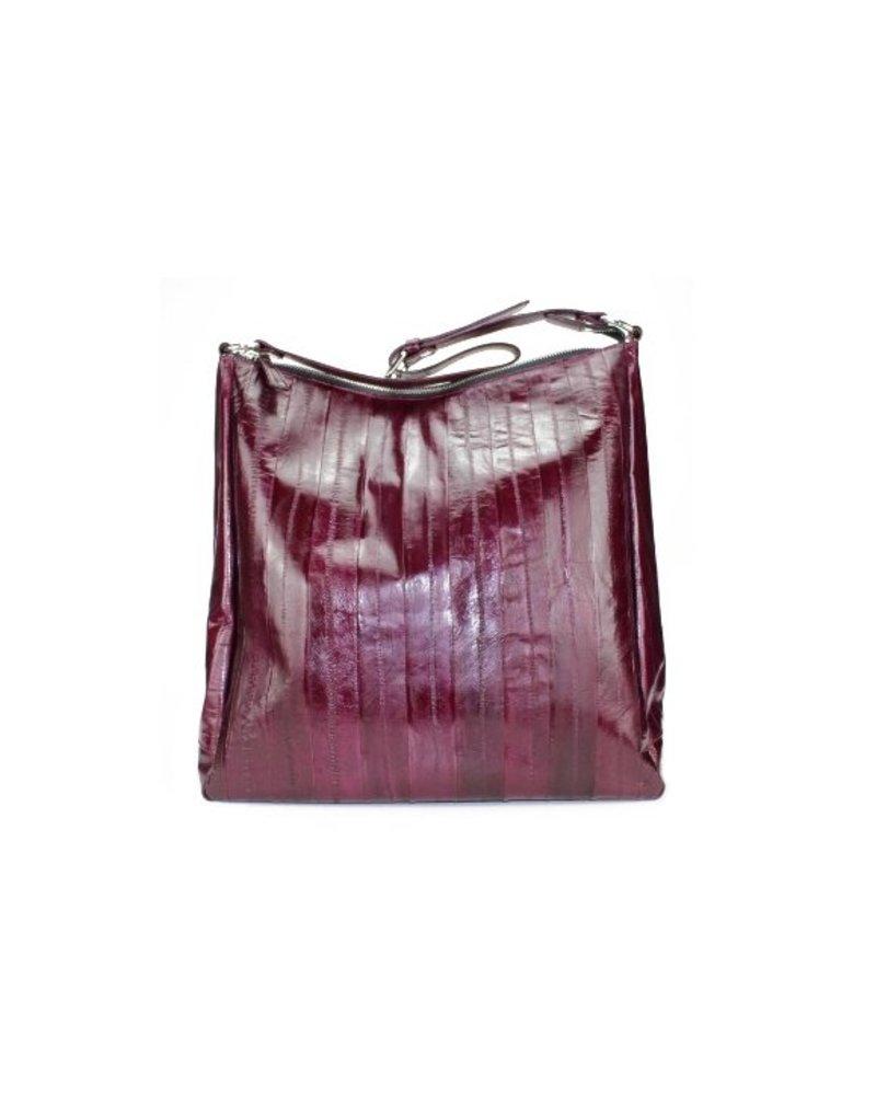 Cleopatra handbag bordeaux silver zipper