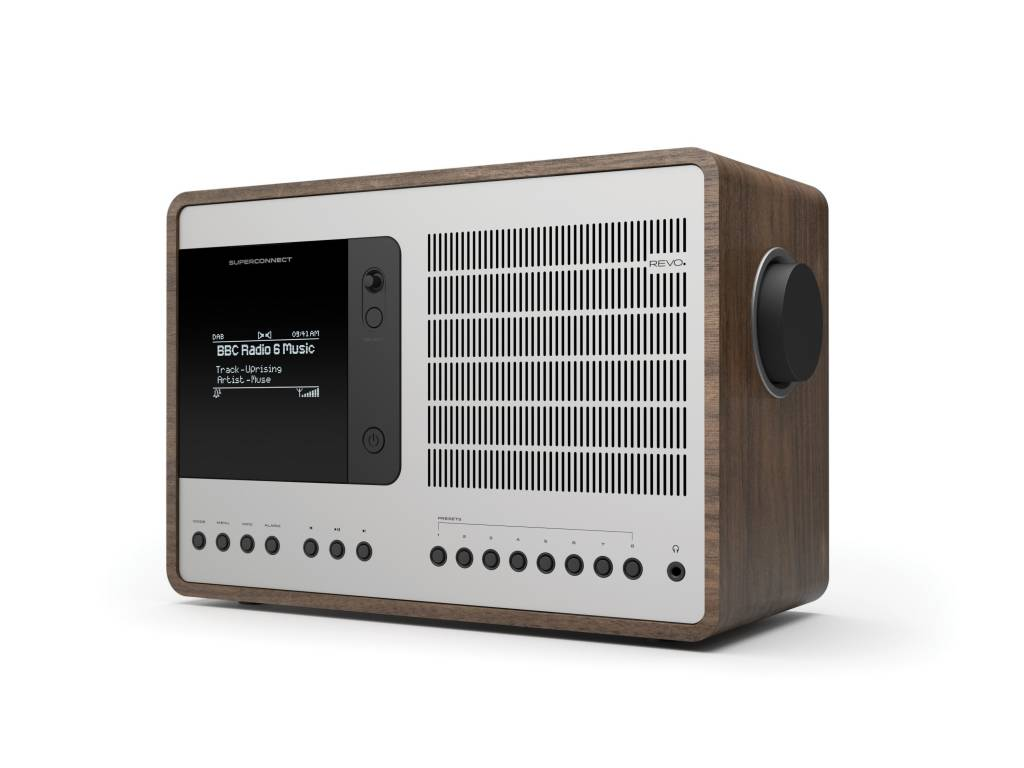 Revo Audio SuperConnect - DAB+ - internet radio en Spotify - Walnoot/Zilver