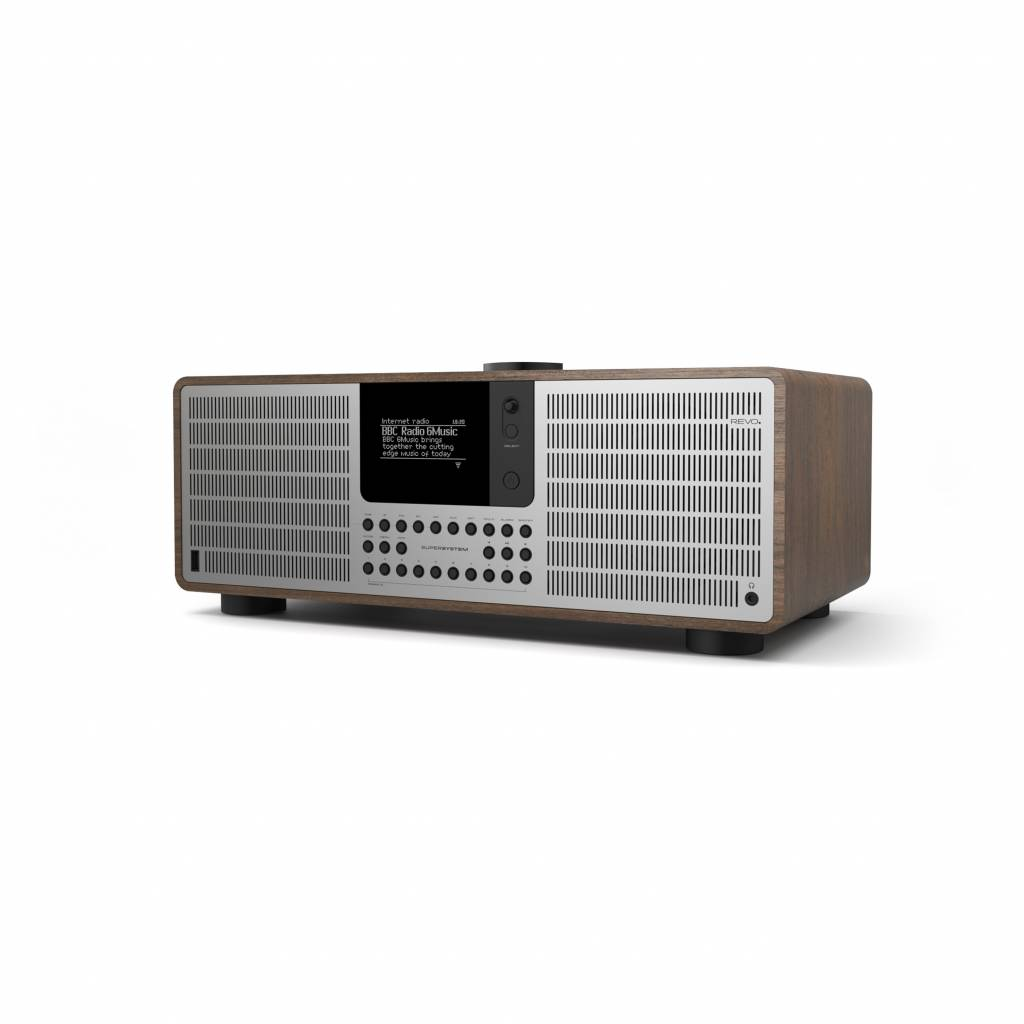 Revo Audio SuperSystem - Internetradio met Bluetooth, Spotify, USB en DAB+ - Walnoot/Zilver