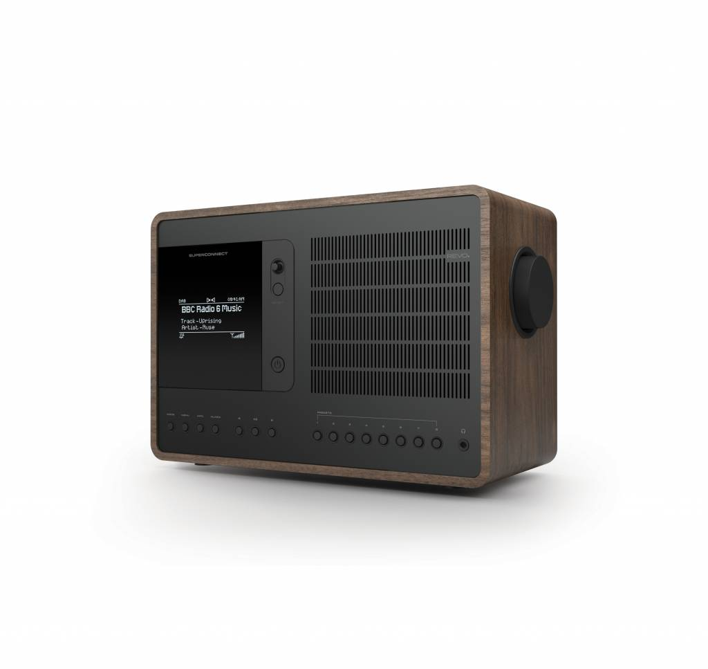 Revo Audio SuperConnect - DAB+ - internet radio en Spotify - Walnoot/Zwart