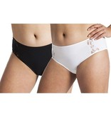 Underwunder Women high-cut briefs with lace white/black (set of 2)