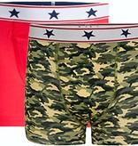 Underwunder Jongens Boxer, rood/camouflage (setprijs)