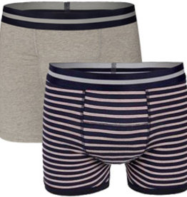 Underwunder Men Boxer Grey/ Stripes (set of 2)
