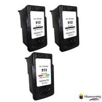 Huismerk inktpatroonshop Inktcartridges Canon 2 x PG-512 + 1 x CL-513 (huismerk)