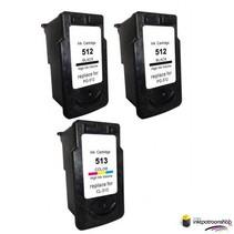 Inktcartridges Canon 2 x PG-512 + 1 x CL-513 (huismerk)