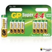 Batterij alkaline AA/LR6 1.5 V Super 8-blister (GP)