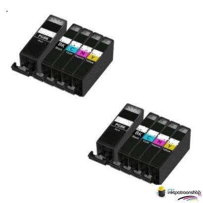 Huismerk inktpatroonshop inktcartridges Canon Voordeelpakket pgi-5bk -/ cli-8 10 stuks (huismerk) met chip