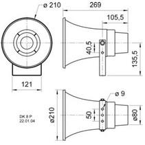 Hoorn luidspreker 100 V - 30 W