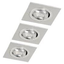 LED Downlight 3 W 2700 K Rectangular Geborsteld Aluminium