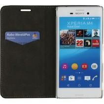 Smartphone Premium Magnet Book Case Sony Xperia M4 Aqua Zwart