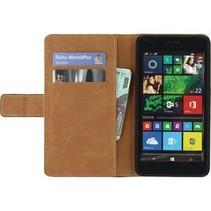 Smartphone Classic Wallet Book Case Microsoft Lumia 640 LTE Zwart