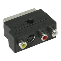 SCART-Adapter Schakelbaar SCART Male - S-Video Female + 3x RCA Female Zwart