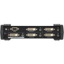 4-Poorts Met Audio-Ondersteuning DVI-Splitter Zwart