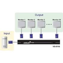 16-Poorts Met Audio-Ondersteuning VGA-Splitter Zwart