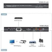 HDMI-Converter HDMI-Ingang - HDMI-Uitgang + TosLink Female + 3x RCA Female