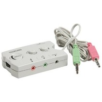 Analoge Audio Schakelaar 2x 3.5 mm Male - 3x 3.5 mm Female + 2.5 mm Female Ivoor
