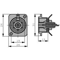 Cinch panel socket Vernikkeld Wit