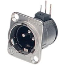 XLR Panel-mount male receptacle 3 N/A D Horizontaal / PCB Mounting Vernikkeld
