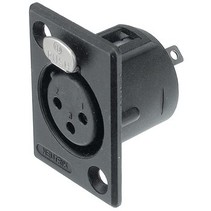 XLR Panel-mount female receptacle 3 N/A P soldeer connectie Zwart