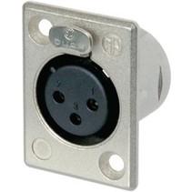 XLR Panel-mount female receptacle 3 N/A P soldeer connectie Vernikkeld