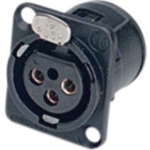 XLR Panel-mount female receptacle 3 D Verticaal<multisep/>PCB Mounting Zwart