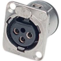 XLR Panel-mount female receptacle 3 N/A D Verticaal / PCB Mounting Vernikkeld