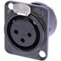 XLR Panel-mount female receptacle 3 DL soldeer connectie Zwart