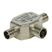 Coax-Adapter Coax Female (IEC) - 2x Coaxconnector Male (IEC) Zilver