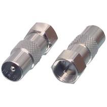 Antenne Adapter F-Male - Coax Male (IEC) Zilver