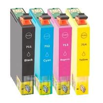 Inktcartridges Epson T-711 + T-714 set (huismerk) Bestel de 2e set met korting !!