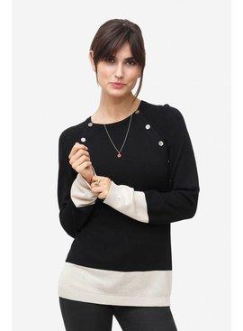 Milker Nursing - festliche Umstandsmode und Stillmode schwarzer Stillpulli Wolle