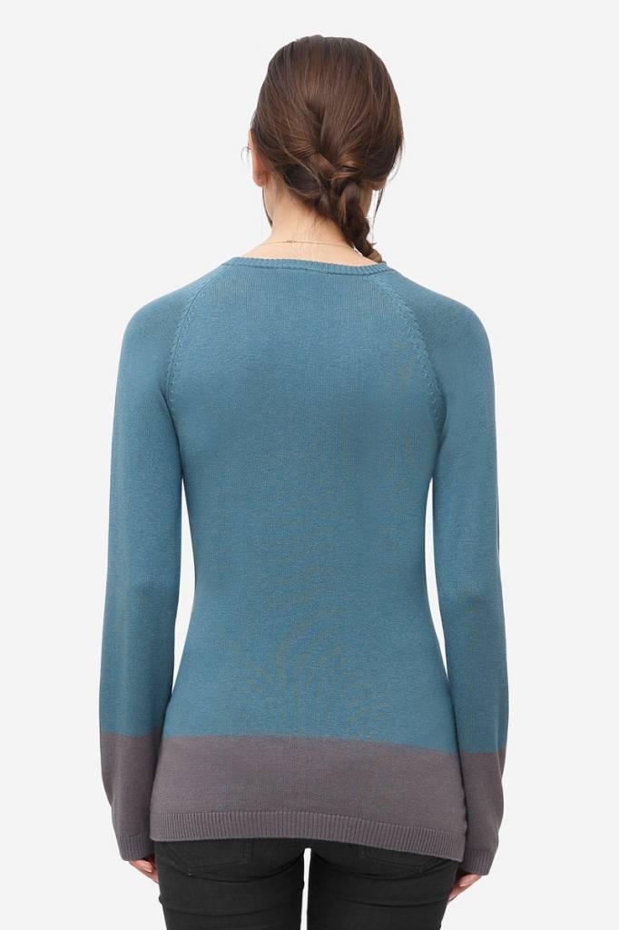Milker Nursing - dänische Umstandsmode und Stillmode blauer Stillpulli Wolle von Milker Nursing
