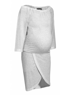 9fashion - elegante und bequeme Umstandsmode hellgraues Umstandssweatshirt