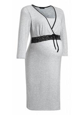 9fashion - elegante und bequeme Umstandsmode graues Umstandsnachthemd - Stillnachthemd