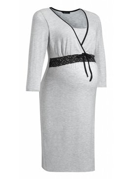 9fashion - schicke Umstandsmode und Stillmode graues Umstandsnachthemd - Stillnachthemd