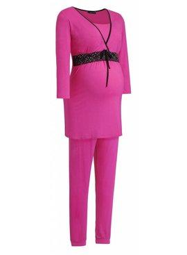 9fashion - elegante und bequeme Umstandsmode pinker Umstandspyjama Spitze