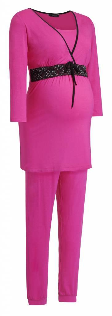 pinker Umstandspyjama mit Spitze von 9fashion