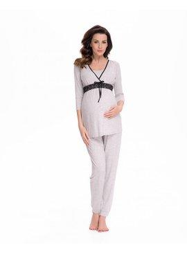 9fashion - elegante und bequeme Umstandsmode grauer Umstandspyjama Spitze