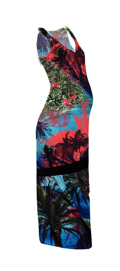 Love2Wait Maxikleid Umstandskleid Maxiumstandskleid mit Palmendruck von Love2Wait
