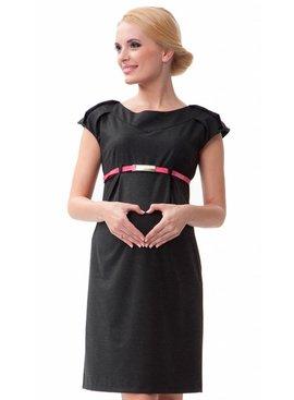 mamaija schwarzes festliches Umstandskleid Business mit Gürtel