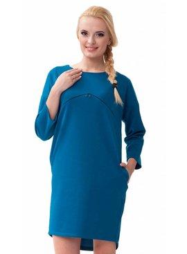 blaues Umstandskleid  mit Stillöffnung