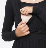 Milker Nursing schwarzes Stillkleid Umstandskleid aus Bambusfaser langarm von Milker
