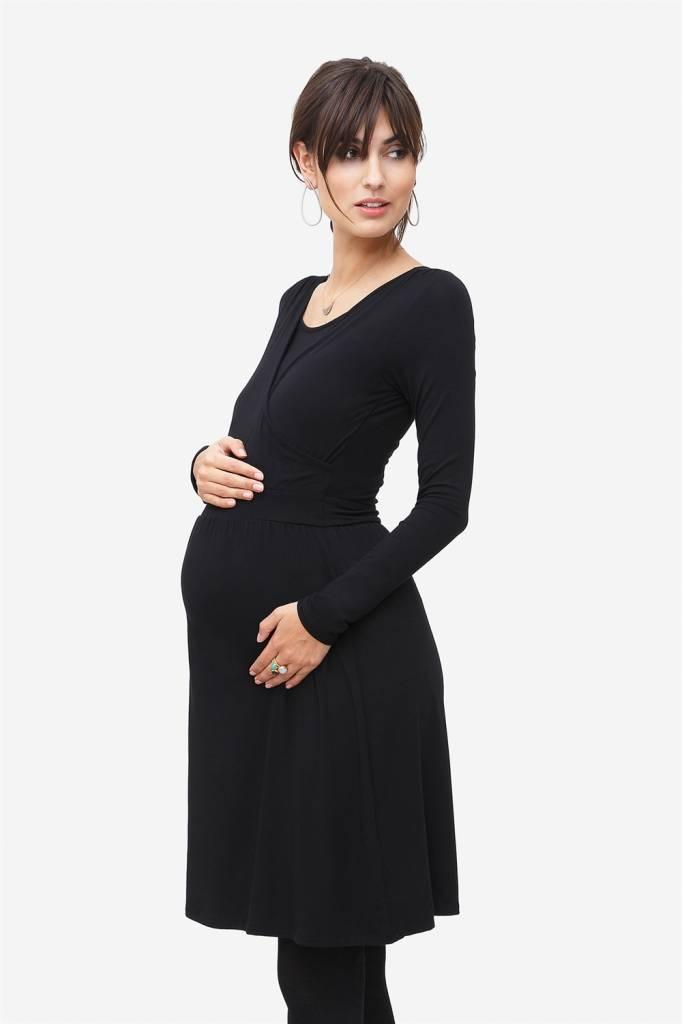 schwarzes Stillkleid Umstandskleid aus Bambusfaser langarm von Milker